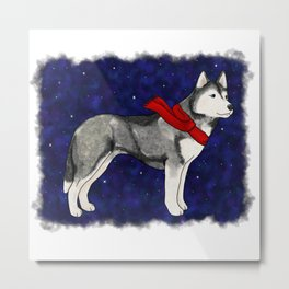 Grey Winter Husky Metal Print
