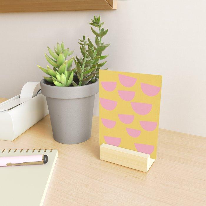 Petals (Pink on Mustard) Mini Art Print