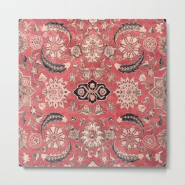 Vintage Blossom II // 16th Century Tibet Ornamental Moody Red Vines Colorful Ornate Rug Pattern Metal Print