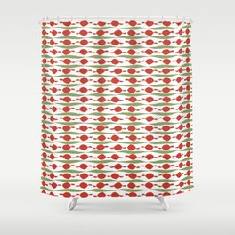 Minimalist Holiday Pattern of Dots and Stripes in Christmas Red and Green Shower Curtain