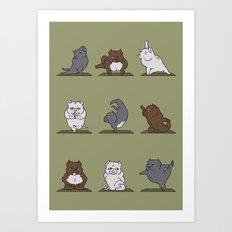 The American Bully Yoga Art Print