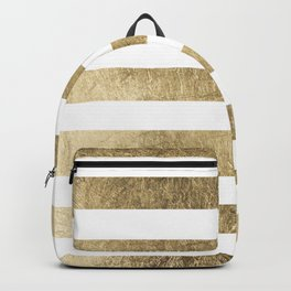 Elegant stylish trendy faux gold modern stripe Backpack