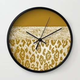 Animal Print Golden Cream Pattern Wall Clock