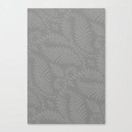 Pantone Pewter Fancy Leaves Scroll Damask Pattern Canvas Print
