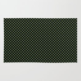 Black and Kale Polka Dots Rug