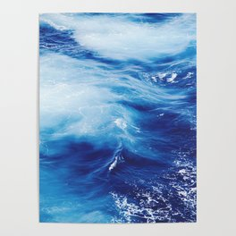 Navy Blue Ocean Wave Poster