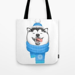 happy husky Tote Bag