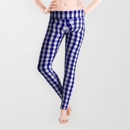 Small Navy Blue and White Gingham Check Plaid Pattern Leggings