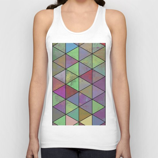 Pastel Triangulation - Abstract, textured, geometric painting Unisex Tank Top