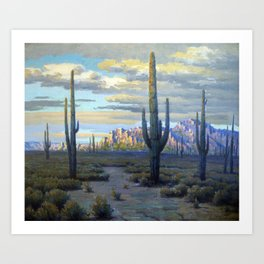 Superstition Mountains and Desert Landscape by John Marshall Gamble Art Print