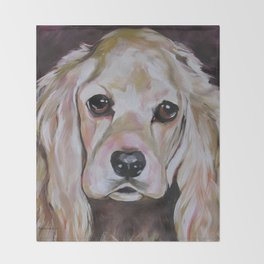 Cocker Spaniel Dog Pet Portrait Throw Blanket