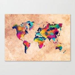 world map watercolor 5 Canvas Print