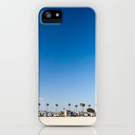 Beach front homes along the sand at Belmont Shore, CA iPhone Case