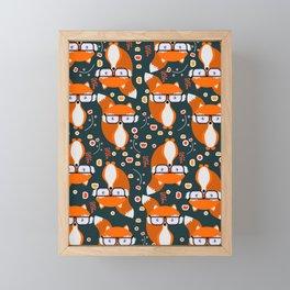Hipster foxes Framed Mini Art Print