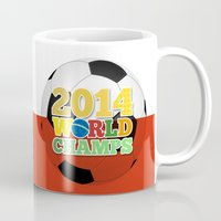 chile Mugs featuring 2014 World Champs Ball - Chile by crouchingpixel