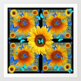 BLUE BUTTERFLIES SUNFLOWER  COLLAGE Art Print