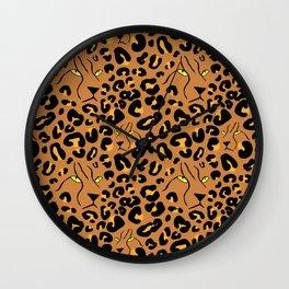 Cheetah Print Faces in Terracotta Tan Wall Clock