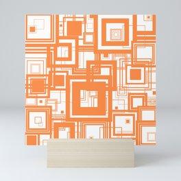 Mid Century Modern Muted Orange 1970s Style Retro Geometric Squares Mini Art Print