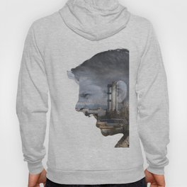 Angry shouting man face on cityscape Hoody