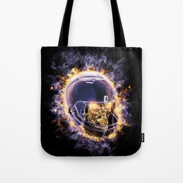 fire football helmet with fire eyes skull on a black background Tote Bag