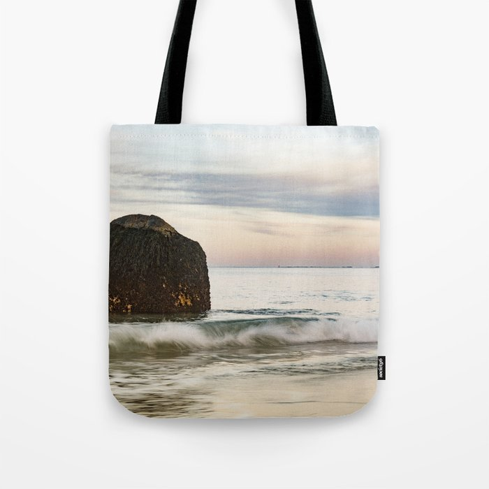 Pastel Moon rise at the beach Tote Bag