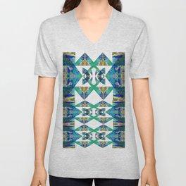 Diamond Geometric Intricate Beauty Green & Blue Unisex V-Neck