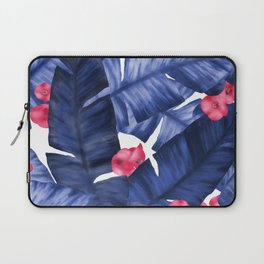 Tropical Banana Leaves With Flower Pattern Laptop Sleeve