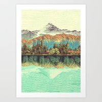 orange Art Prints featuring The Unknown Hills in Kamakura by Kijiermono