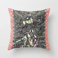 unicorn Throw Pillows featuring Unicorn by AKIKO