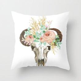 Bohemian bull skull with flowers Throw Pillow