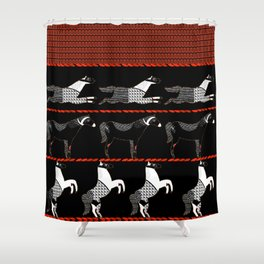 Horses and Lines Shower Curtain