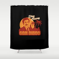 will ferrell Shower Curtains featuring Stay classy San Diego the anchorman by Buby87