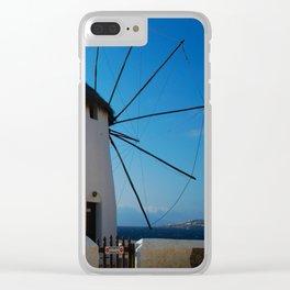 Windmills on Mykonos Island Greece Clear iPhone Case