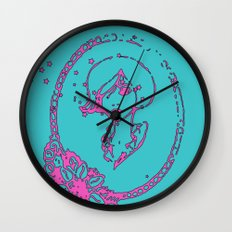 Starry Eyed Turquoise Wall Clock