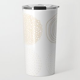 Simply Mod Circles in White Gold Sands on White Travel Mug