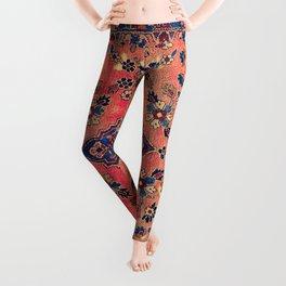 Kashan Central Persian Silk Rug Print Leggings