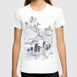 Kono Bairei - Two Gulls And Blossomed Cherry Tree - Vintage Japanese Woodblock Print Art (1883) T-shirt