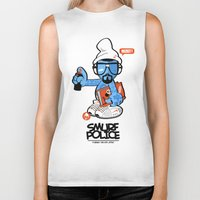 police Biker Tanks featuring SMURF POLICE by benny the kid