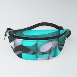 polynomials - turquoise and opart Fanny Pack