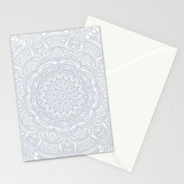 Light Gray Ethnic Eclectic Detailed Mandala Minimal Minimalistic Stationery Cards