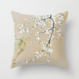 Japanese apricot flower painting,oriental,chinoiserie,korean painting Throw Pillow