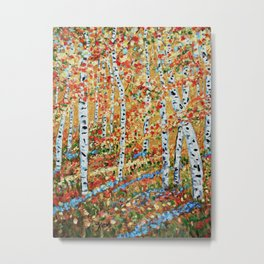 Strolling Through The Aspens, Impressionism art Metal Print