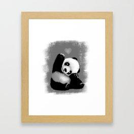 Panda Love (Monochrome) Framed Art Print