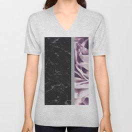 Light Purple Flower Meets Gray Black Marble #6 #decor #art #society6 Unisex V-Neck