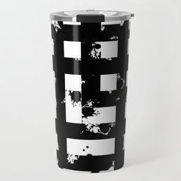Splatter Hatch - Black and white, abstract hatched pattern Travel Mug