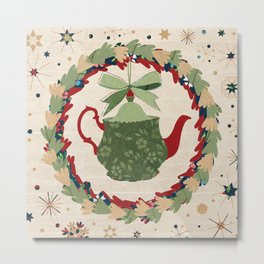 Christmas Teapot inside the Wreath  Metal Print