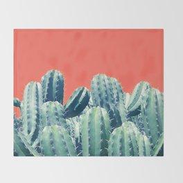 Cactus on Coral #society6 #decor #buyart Throw Blanket