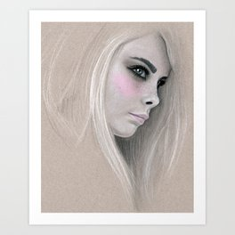 Cara Fashion Illustration Portrait Art Print
