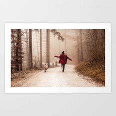 Red Riding Hood And The Big Bad Wolf Art Print