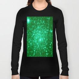 Emerald Green Glitter Stars Long Sleeve T-shirt
